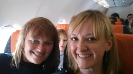 With Alana on a plane
