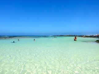 The beautiful safe water at Corralejo