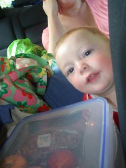 peekaboo behind the car seats.entertaining the baby.France 2012