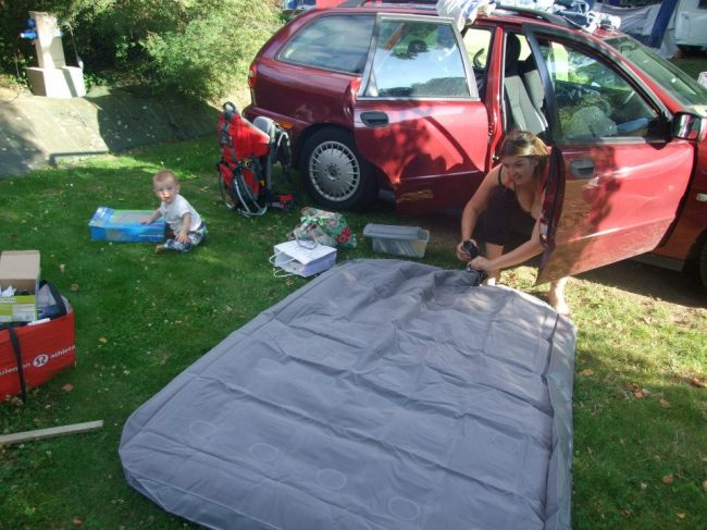 Rosie and air bed.France 2012