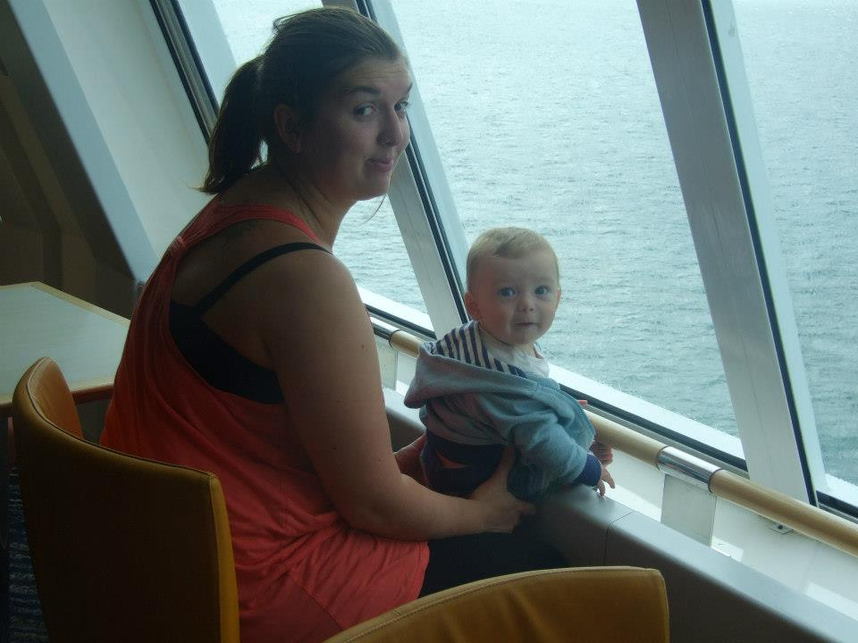 Rosie cheeky and Danny on Ferry2. France 2012