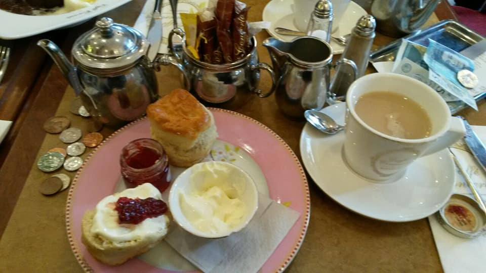 Afternoon tea and scones. Plus the soon to be redundant British pound