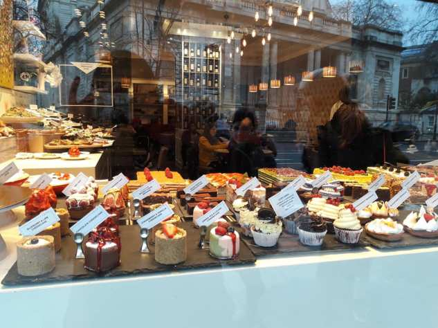 Luscious cakes in a Patisserie on the Brompton Road